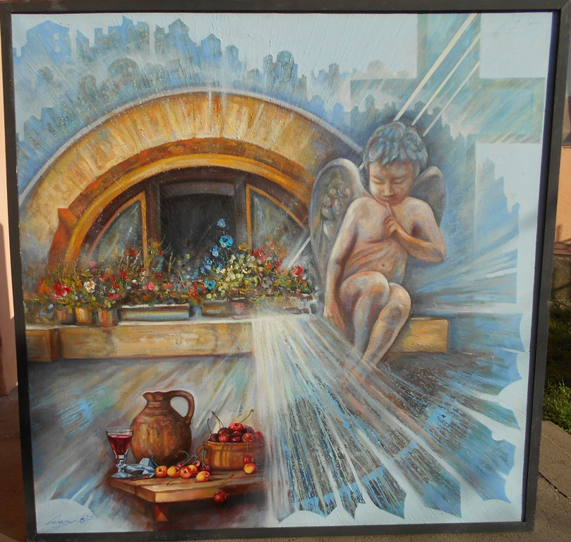 Krstionica manastira Gornjak, ulje na platnu, 100x100 cm, Ivan Vanja Milanovic. 1000 evra