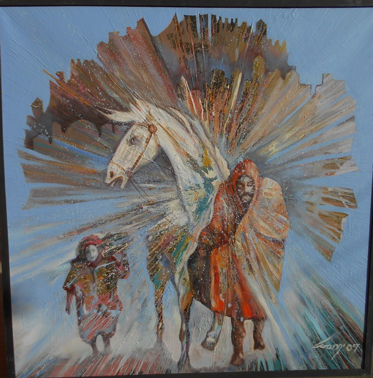 Mecava, ulje na platnu, 100×100 cm, Ivan Vanja Milanovic. 1000 evra