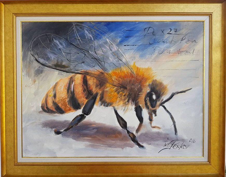Pcela, ulje na platnu, sa 77×97 cm, bez 60×80 cm, akademski slikar M. Penkov, sertifikat, 330 eura