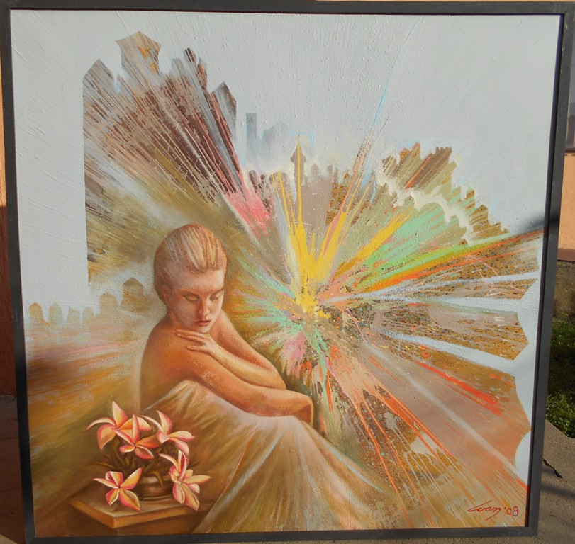 Put kroz vreme, ulje na platnu, 100x100 cm, Ivan Vanja Milanovic. 1000 evra