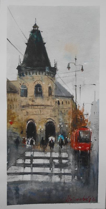 Beogradski tramvaj, 50x25 cm, Radovan Vojinovic, akvarel, sertifikat, 50 eura