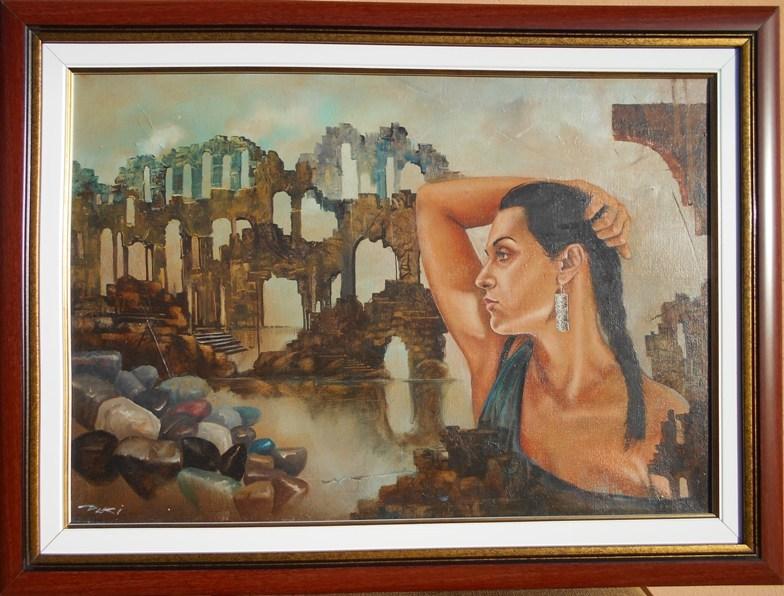 Devojka i hram, ulje na platnu, sa 50×67 cm, bez 38×56 cm, uramljena, Dejan Deki Milivojevic,  280 eura