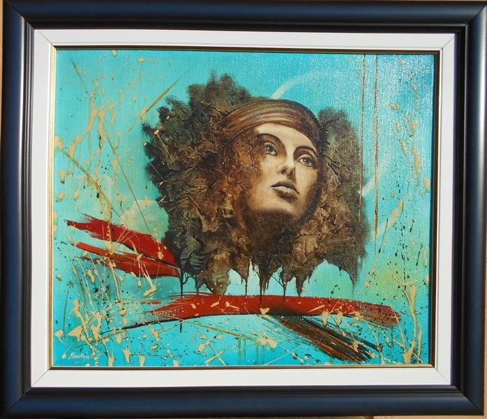 Glava u plavom, ulje na platnu, sa 49×58 cm, bez 38×46 cm, uramljena, Dejan Deki Milivojevic,  250 eura