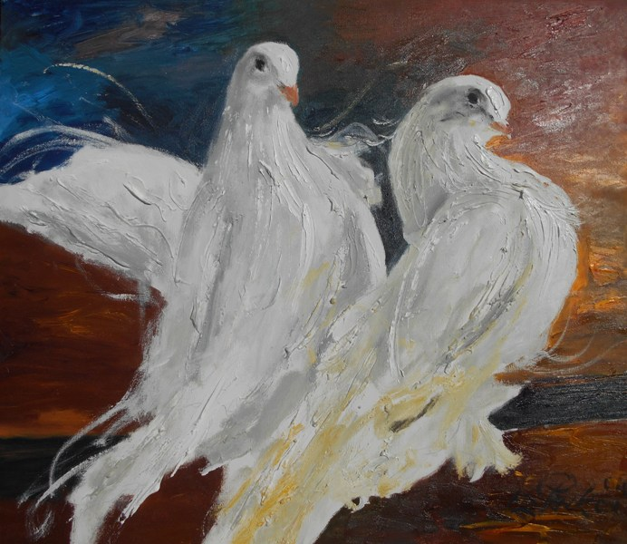 Golubovi, ulje na platnu, 60×70 cm, akademski slikar M. Penkov, sertifikat, 250 eura