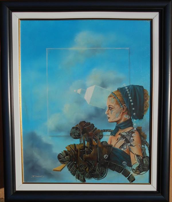 Misteriozna, ulje na platnu, sa 62×51 cm, bez 50×40 cm, uramljena, Dejan Deki Milivojevic,  250 eura