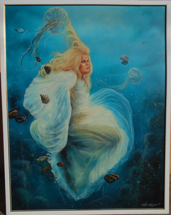 Plavi andjeo, ulje na platnu, sa 121×94 cm, bez 117×90 cm, uramljena, Dejan Deki Milivojevic,  900 eura