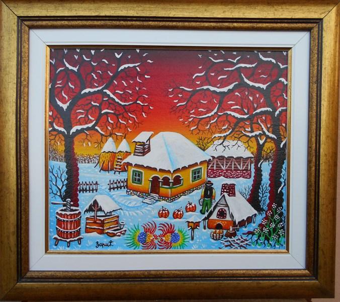 Zimska idila, ulje na platnu, sa 41x37 cm, bez 30x25 cm, uramljena, Zoran Zaric, 125 eura