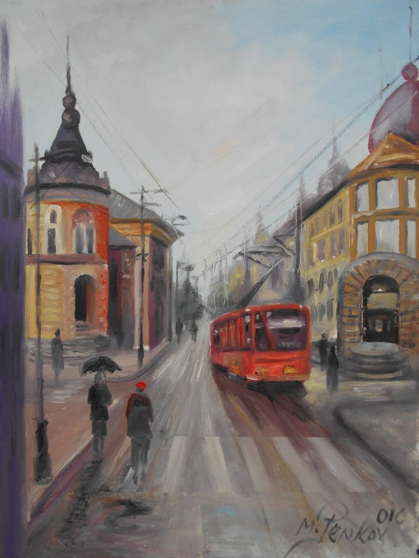 Beograd 2, ulje na platnu, 80×60 cm, akademski slikar M. Penkov, sertifikat, 300 eura