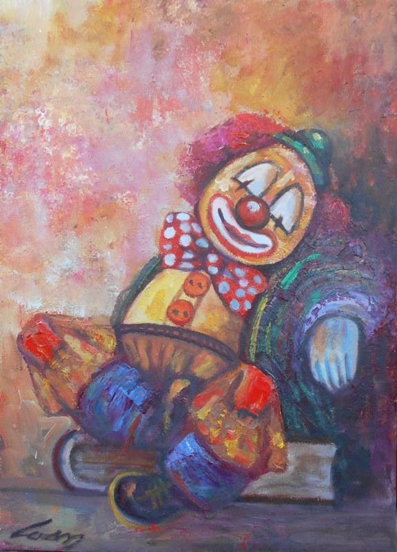 Klovn 2, ulje na platnu, 70x50 cm, akademski slikar Ivan Vanja Milanovic, 200 eura