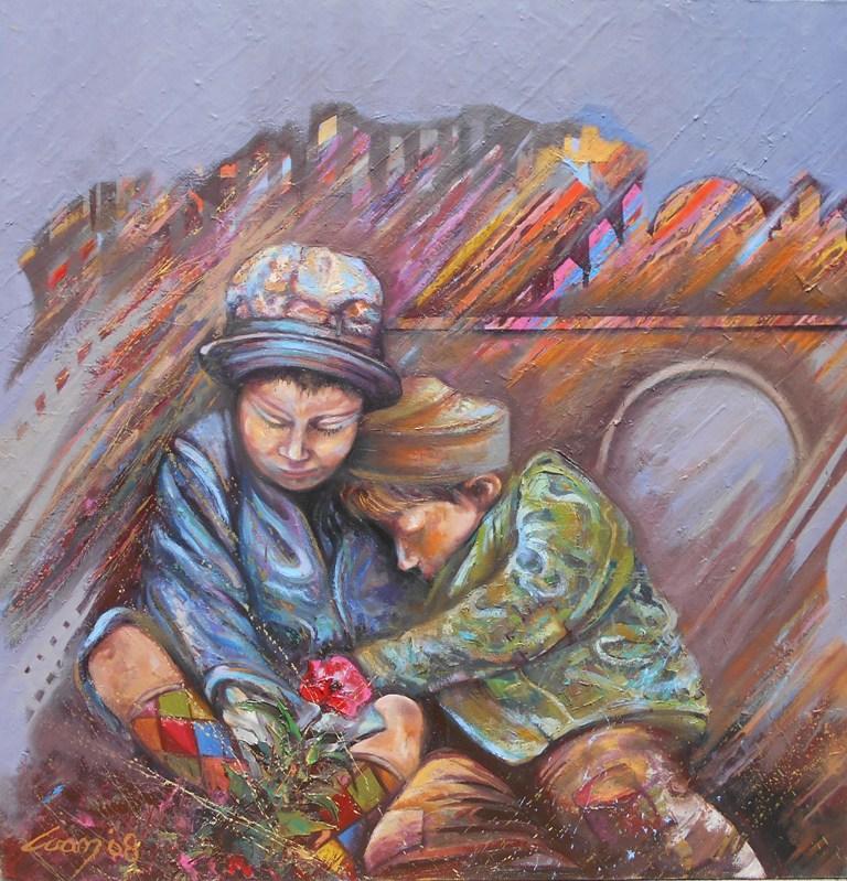 12 Deca, ulje na platnu, 100×100 cm, Ivan Vanja Milanovic. sertifikat, 700 evra