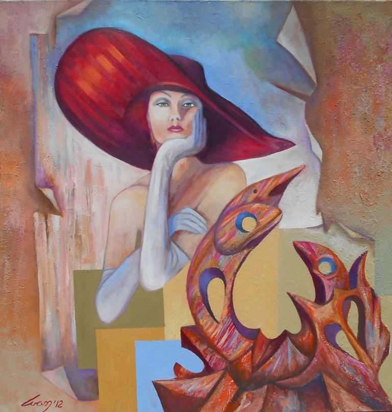 14 Pikasova vizija, ulje na platnu, 100×100 cm, Ivan Vanja Milanovic. sertifikat, snižena sa 1000 e na 700 evra