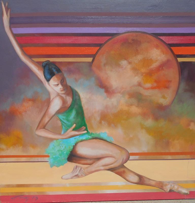 4 Balerina, ulje na platnu, 100×100 cm, Ivan Vanja Milanovic. sertifikat, 700 evra