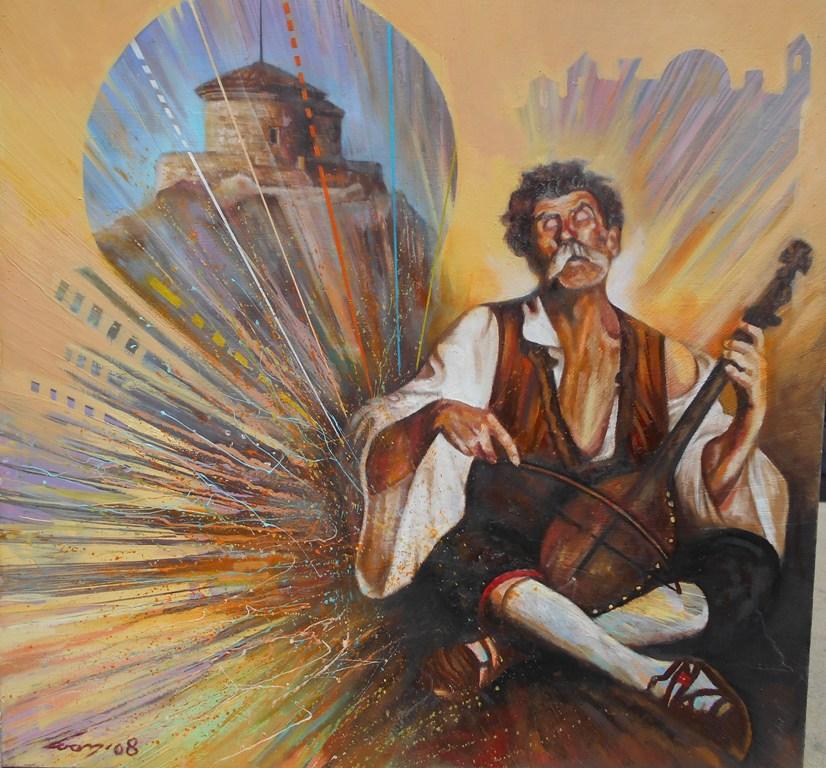 5 Guslar i Lovcen, ulje na platnu, 100×100 cm, Ivan Vanja Milanovic. sertifikat, 700 evra