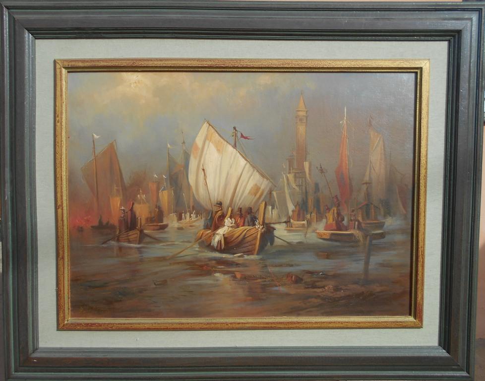 Panonske ladje, Goran Mitrovic,  sa 76×96 cm, bez 50×70 cm, ulje na platnu kasirano, luksuzno uramljena, sertifikat, 700 eura