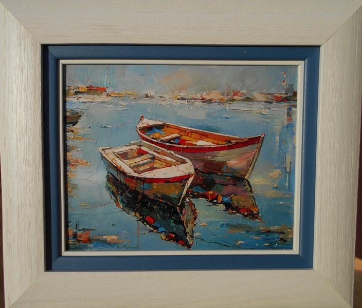 Morske barke 1, Nenad Mandic, ulje na platnu, luks uramljena, sa 39×45 cm, bez 24×30 cm, sertifikat, 70 eura