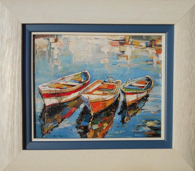 Morske barke 2, Nenad Mandic, ulje na platnu, luks uramljena, sa 39×45 cm, bez 24×30 cm, sertifikat, 70 eura