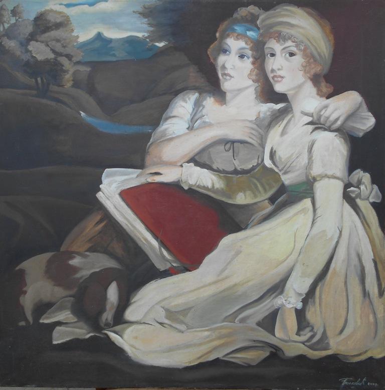 Sestre Frenklend kopija po slikaru Dzonu Hopneru, ulje na platnu, 85×85 cm, akademski sl. Goran Bankovic, 2001, sertifikat,   350 eura