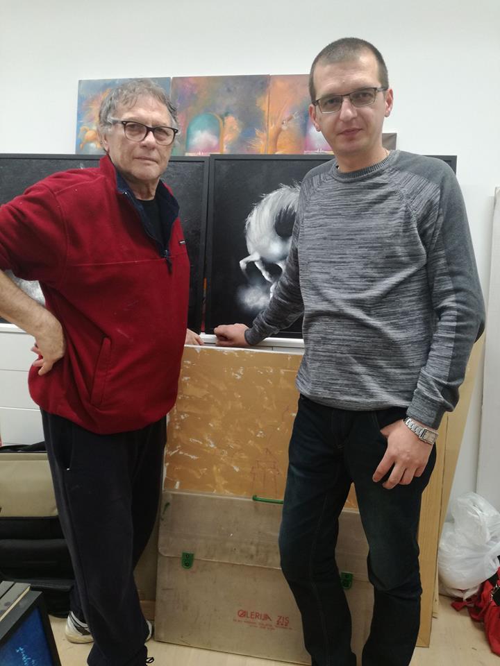 U ateljeu prijatelja Janoš Mesaroš i Darko Lazić