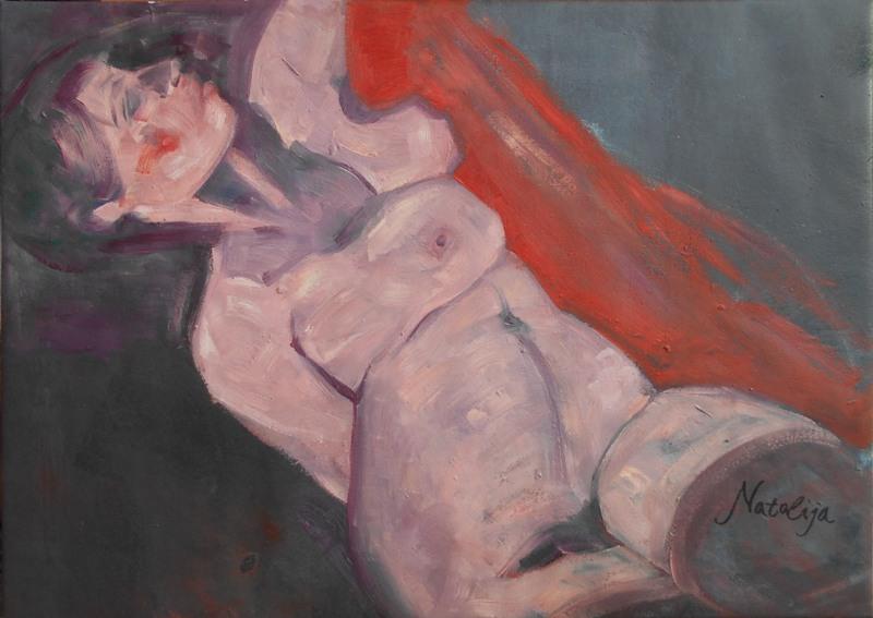Akt 2, Mr. akadem. slikar  Natalija Cimesa, ulje na platnu, 49×69 cm, 2017., sertifikat, 200 e