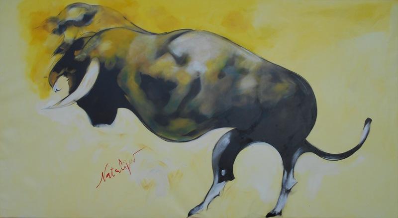 Bik, Mr. akadem. slikar  Natalija Cimesa, ulje na platnu, 115×210 cm, 2017., sertifikat, 2000 e