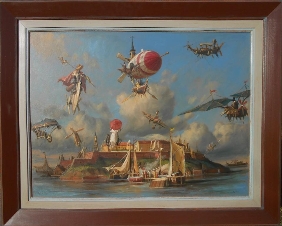 Cuvari svetilista,  Goran Mitrovic, bez 100×70 cm, sa 130×100 cm, ulje na platnu kasirano , luksuzno uramljena, sertifikat, 2017, 1800 eura