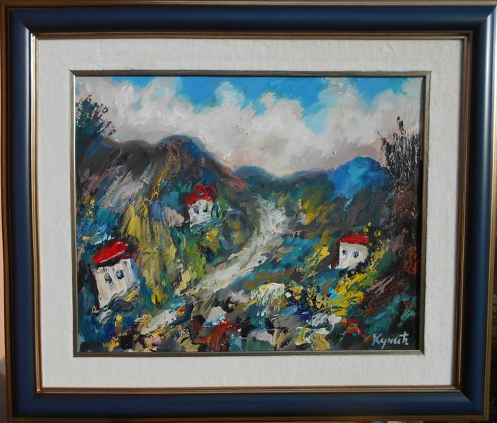 Plavo selo 3, ulje na platnu, Dragan Kunic, sertifikat, sa 61×71 cm, lux ram, bez 40×50 cm, 220 eura