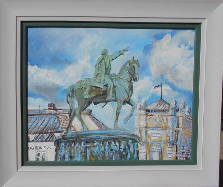 Kod konja, Goran Bankovic, ulje na platnu, sa 54×64 cm, bez 40×50 cm, sertifikat, 90 eura