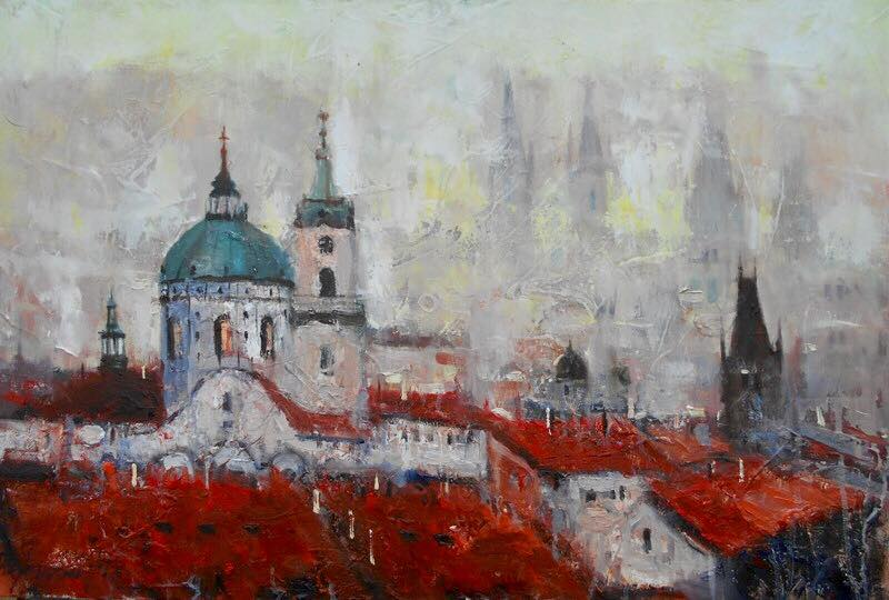 Prag, 60×90 cm, Radovan Vojinovic, ulje na platnu, sertifikat, 200 eura