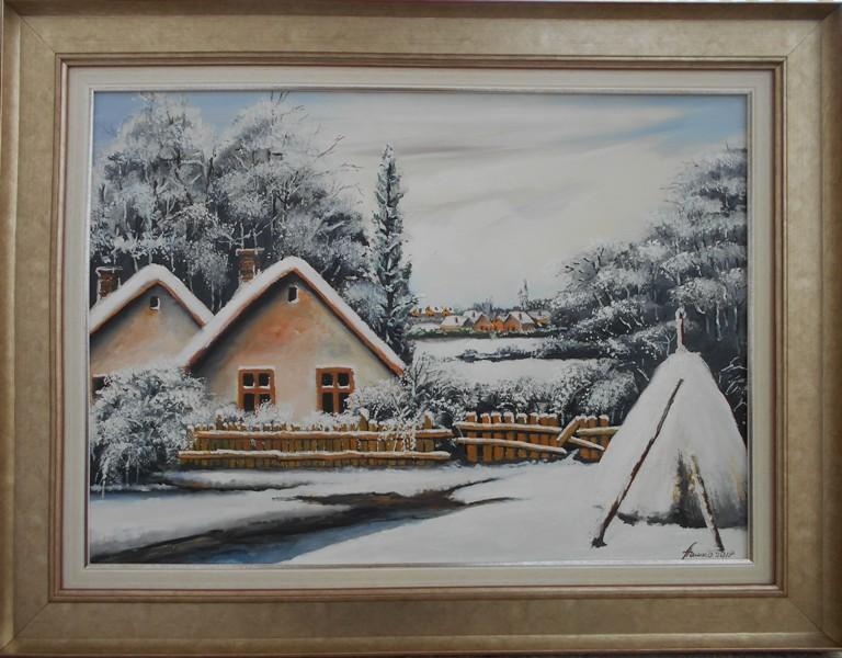 Zimski pejzaz, ulje na platnu, sa 68×88 cm, bez 50×70 cm, Pasko Memisevic, sertifikat, 190 eura