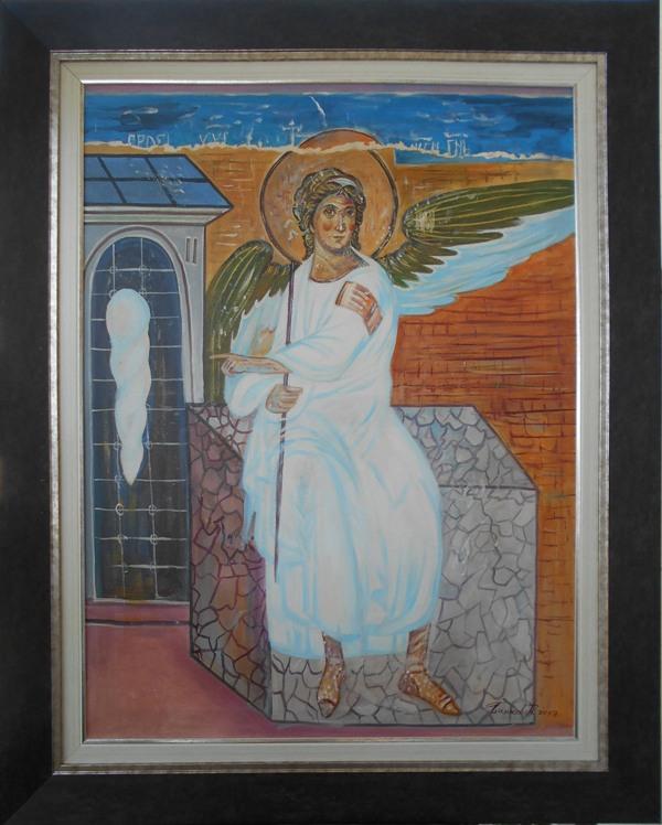 Beli andjeo 1, ulje na platnu, sa 98×78 cm, bez 80×60 cm, akademski sl. Goran Bankovic, sertifikat, 240 eura