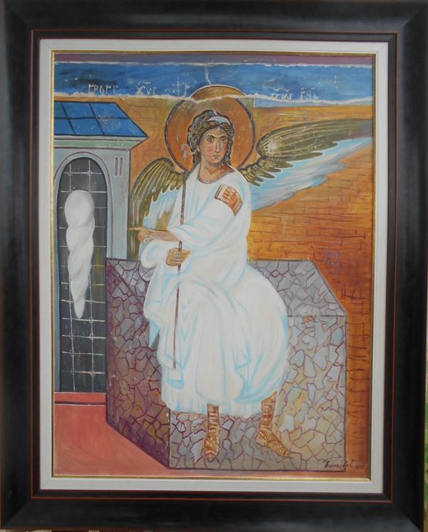 Beli andjeo 2, ulje na platnu, sa 98×78 cm, bez 80×60 cm, akademski sl. Goran Bankovic, sertifikat, 240 eura