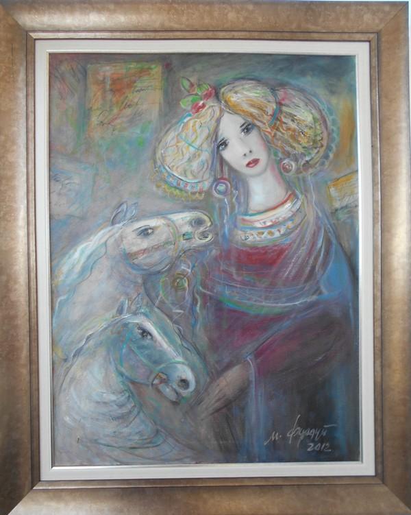 Gracija sa atima, ulje na platnu, sa 83×103 cm, bez 80×60 cm, Momcilo Moma Fundup, sertifikat, 300 eura