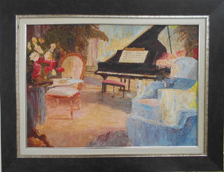 Klavir 4, ulje na platnu, sa 68×88 cm, bez 50×70 cm, Slobodan Paunovic. sertifikat, 180 evra