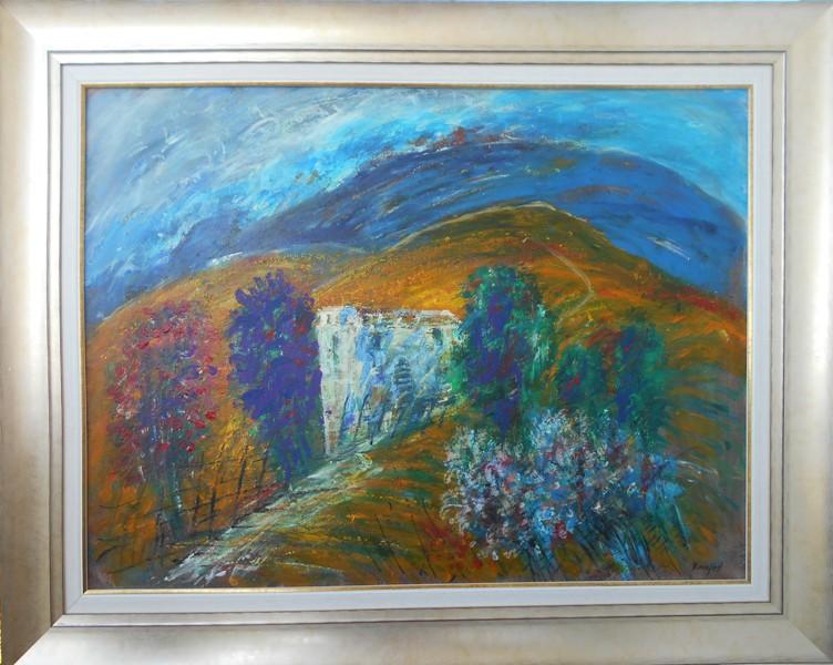Suncana strana 2, ulje na platnu, sa 83×103 cm, bez 60×80 cm, Novakovic Milivoje Kanjos, sertifikat, 400 eur