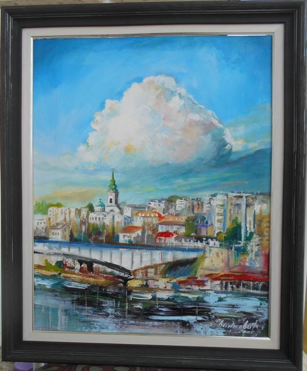 Beograd 2, Goran Bankovic, ulje na platnu, sa 59×49 cm, bez 50×40 cm, sertifikat, 90 eura