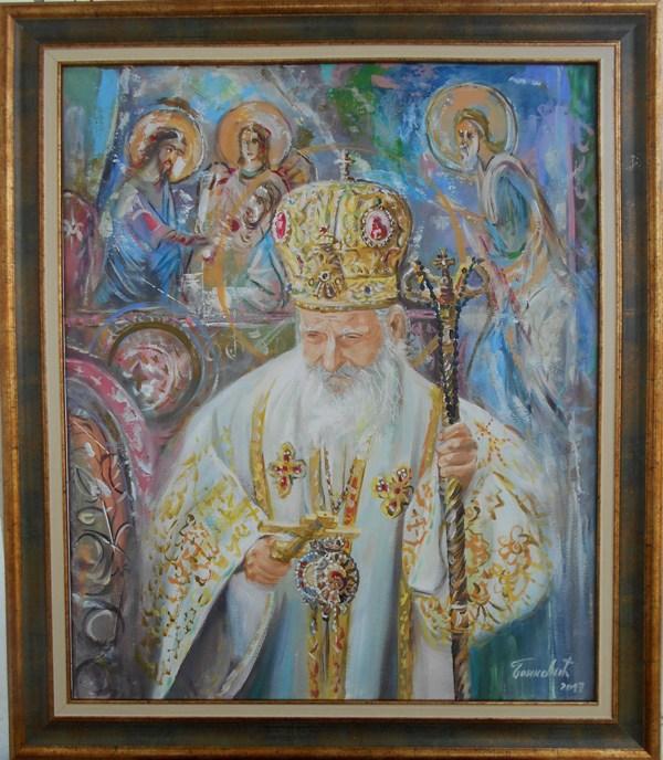Patrijarh Pavle 7, ulje na platnu, sa 71×61 cm, bez 60×50 cm, akademski sl. Goran Bankovic, sertifikat,   170 eura