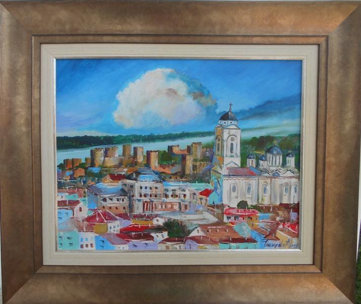 Smederevo 2, ulje na platnu, sa 53×63 cm, bez 35×45 cm, sertifikat, akademski slikar Bankovic, 90 eura