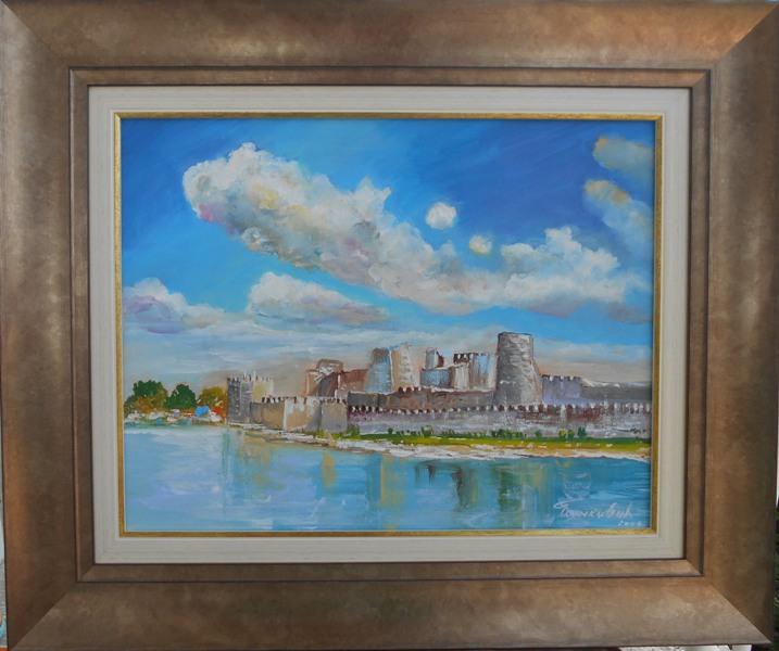 Tvrdjava 6, ulje na platnu, sa 53×63 cm, bez 35×45 cm, sertifikat, akademski slikar Bankovic, 90 eura