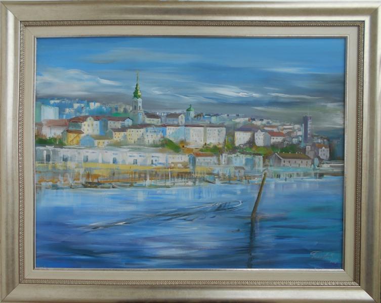 Beograd 6,  akademski Goran Bankovic, ulje na platnu, sa 76×96 cm, bez 60×80 cm, sertifikat, 250 eura