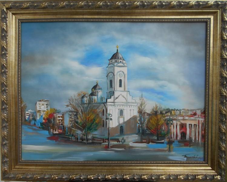 Smederevo trg 1,  akademski Goran Bankovic, ulje na platnu, sa 76×96 cm, bez 60×80 cm, sertifikat, 250 eura