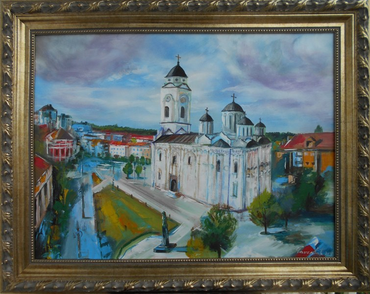Smederevo trg 2,  akademski Goran Bankovic, ulje na platnu, sa 76×96 cm, bez 60×80 cm, sertifikat, 250 eura