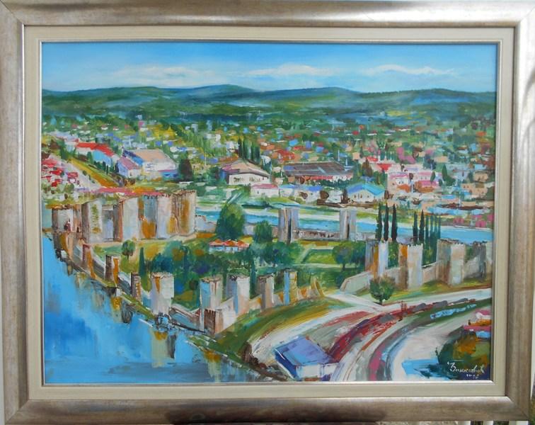 Smederevska tvrdjava 1, akademski sl. Goran Bankovic, ulje na platnu, sa 75×95 cm, bez 60×80 cm, sertifikat, 250 eura