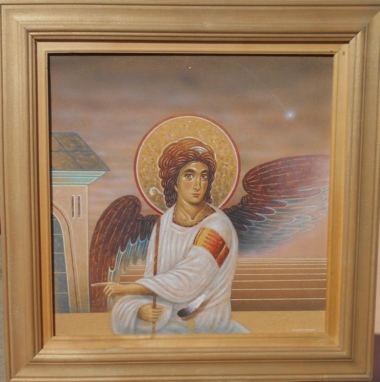 Beli Andjeo, Bozidar Damjanovski, akril-glina na platnu, sa 53×53 cm, bez 40×40 cm, 1992., sertifikat, 700 evra