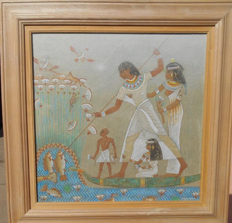 Faraonov ribolov, Bozidar Damjanovski, akril-glina na platnu, sa 53×53 cm, bez 40×40 cm, 1992., sertifikat, 700 evra