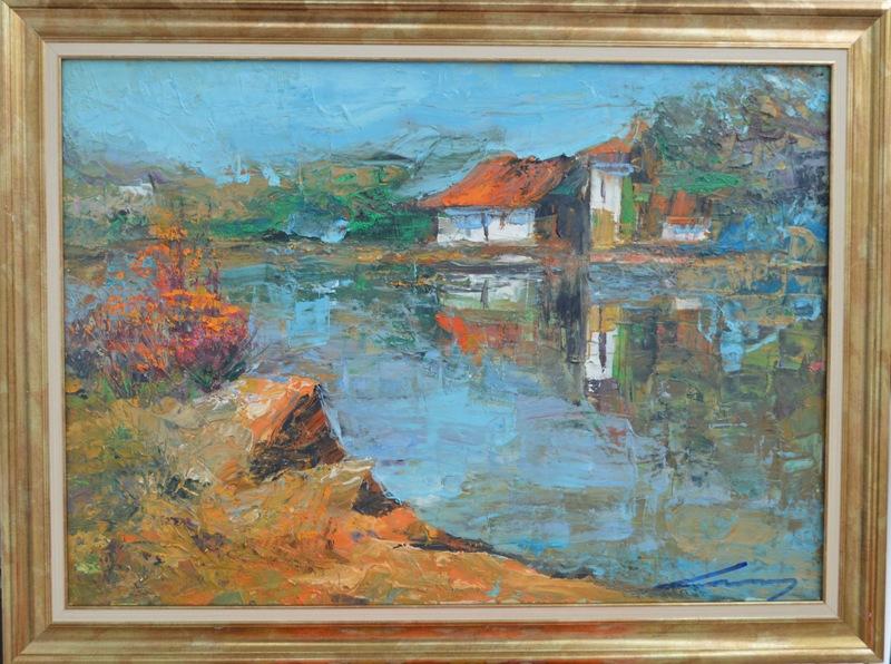Jutro na moru, Ivan Milovanovic Vanja, ulje na platnu, sa 61×81 cm, bez 50×70 cm, sertifikat, 190 eura