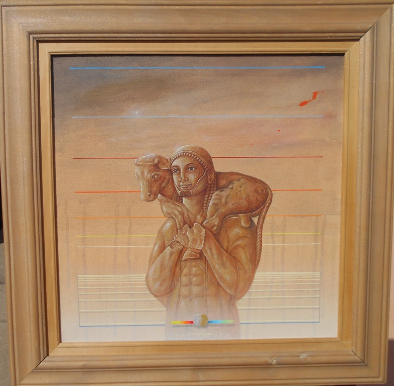 Moskoforos, Bozidar Damjanovski, akril-glina na platnu, sa 53×53 cm, bez 40×40 cm, 1992., sertifikat, 700 evra