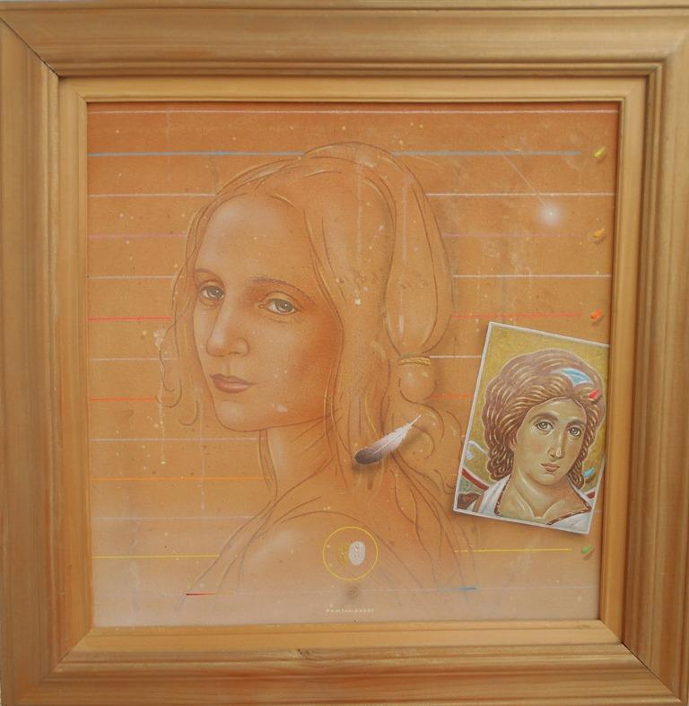 Secanje na andjela, Bozidar Damjanovski, akril-glina na platnu, sa 53×53 cm, bez 40×40 cm, 1992., sertifikat, 700 evra