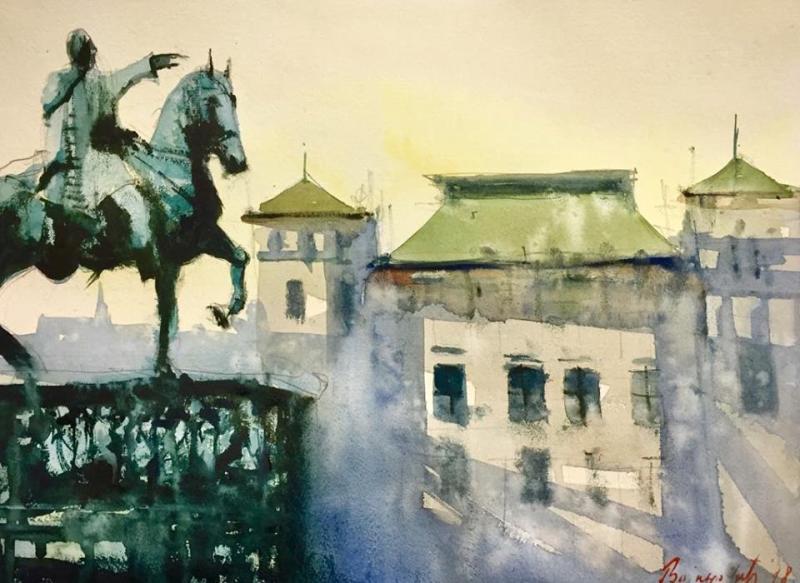 Kod konja, 32×40 cm, Radovan Vojinovic, akvarel, sertifikat, 50 eura