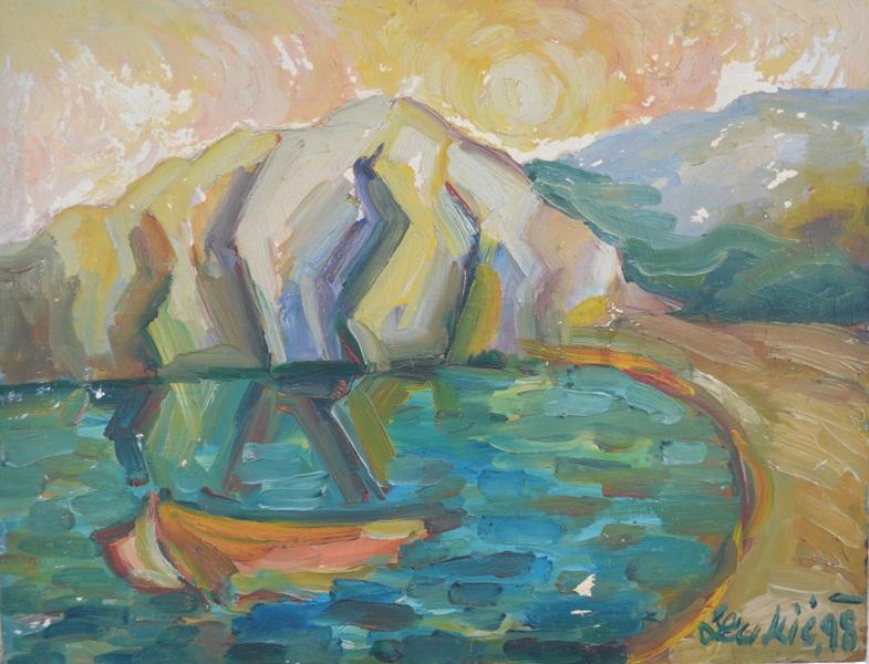 Letnji pejsaz II, ulje na platnu, 63×79 cm, 1998. , slikar Milan Lukic, sertifikat, ima ispucale boje, 100 eura