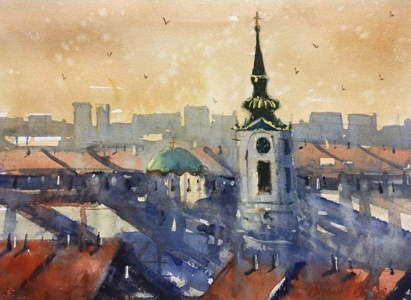 Saborna crkva II, 31×40 cm, Radovan Vojinovic, akvarel, sertifikat, 50 eura